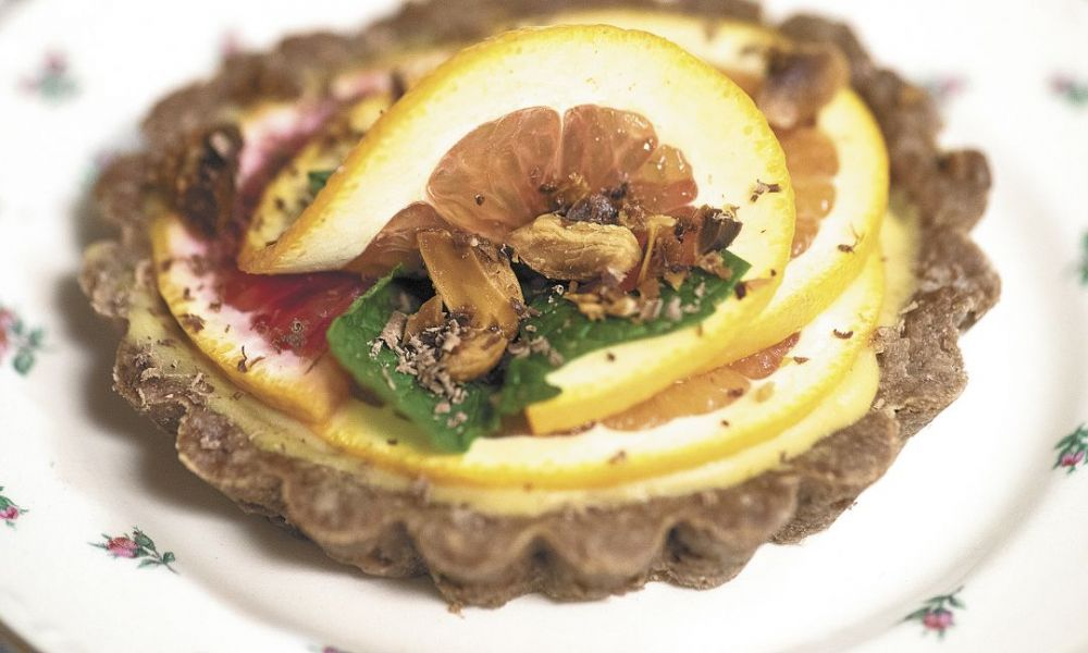 Citrus and chocolate tartlets are paired with Archery Summit 2012 Arcus Estate Pinot Noir.##Photo by Andrea Johnson