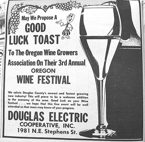 Roseburg News Review clippings from the '70s show community support for the Oregon Wine Festival. Now known as Greatest of the Grape, the Umpqua Valley gala is celebrating 45 years.##Images courtesy of Roseburg News Review