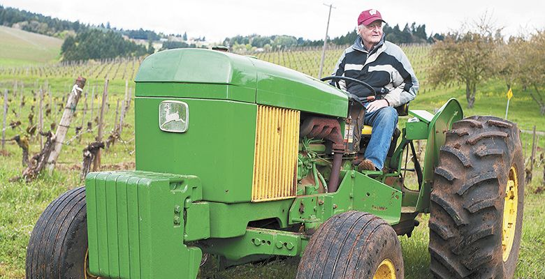 Jim Maresh does tractor work at Maresh Vineyards, which
