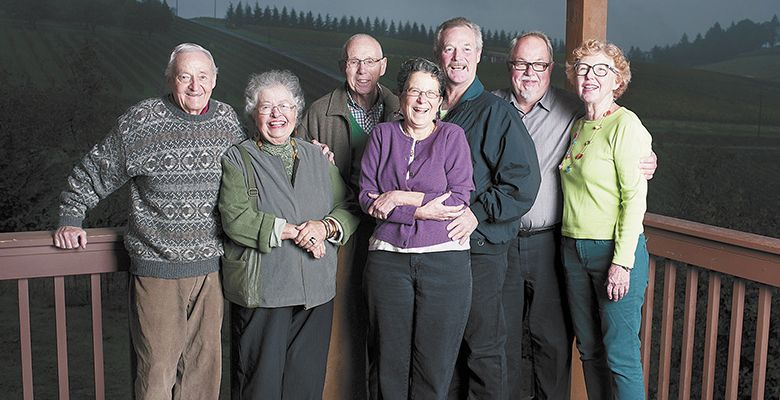 Longtime friends and winegrowers: (from left): Jim Maresh, Donna Jean McDaniel, Jim McDaniel, Vivian Weber, Nick Weber, Gerard