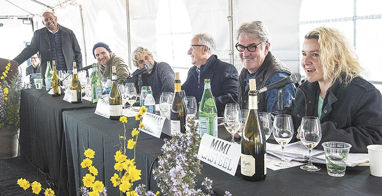 The 2015 Chardonnay Symposium panel, led by Rajat Parr (standing), included (from left) Jason Lett, John Paul, Craig Williams, Thomas Bachelder and Mimi Casteel.##Photo by Andrea Johnson