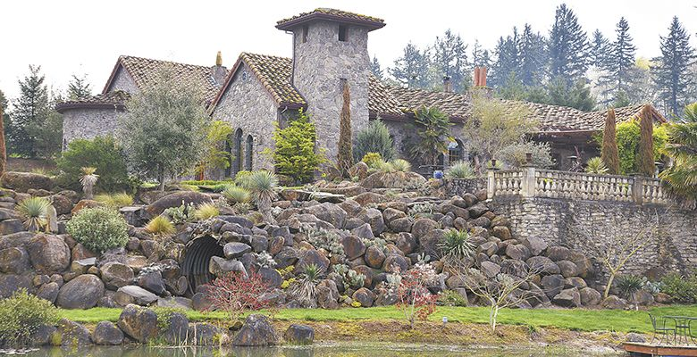 Villa Catalana Cellars features handcrated stone work, three ponds and lush landscaping.##Photo by Jade Helm