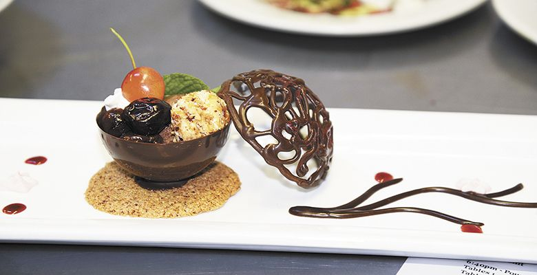 Banick won the contest with her dessert, a dark chocolate