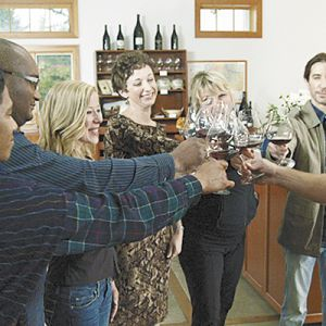 "Jesse Lange (far right) will star in the first ""Best Bottle"" series in which contestants will be mentored by the Dundee Hills winemaker.##Photo provided"