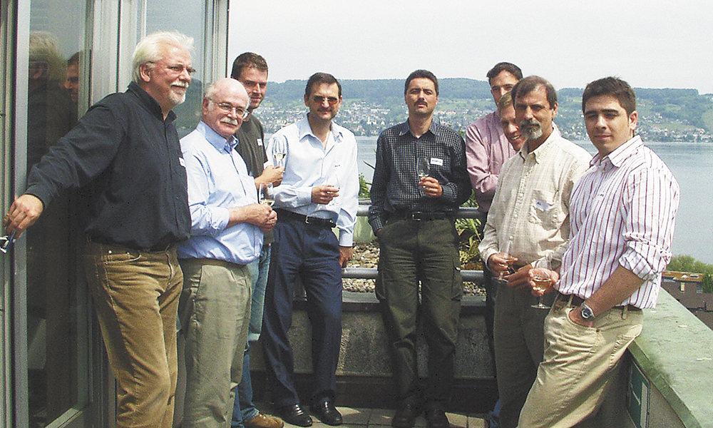 MacDonald (second from left) joins IOBC (International Organisation for Biological Control) colleagues at a meeting in Wadenswil, Switzerland, in 2004.##Photo provided