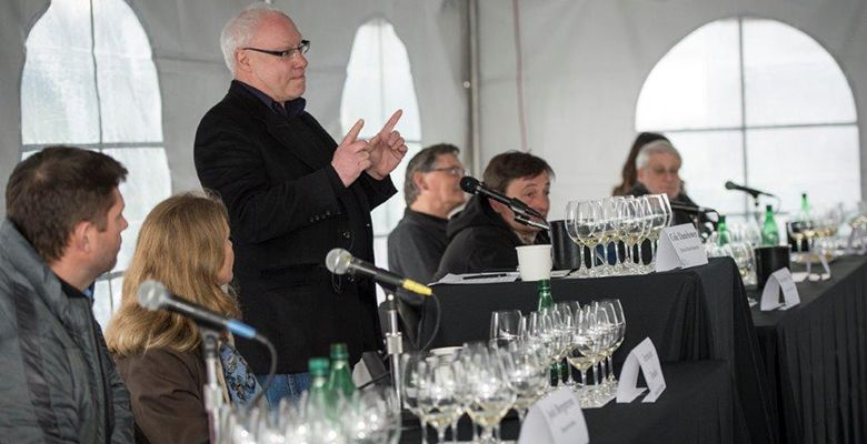 Cole Danehower acts as the technical panel moderator at the 2014 Oregon Chardonnay Symposium hosted at Stoller Family Estate in Dayton.##Photo by Andrea Johnson