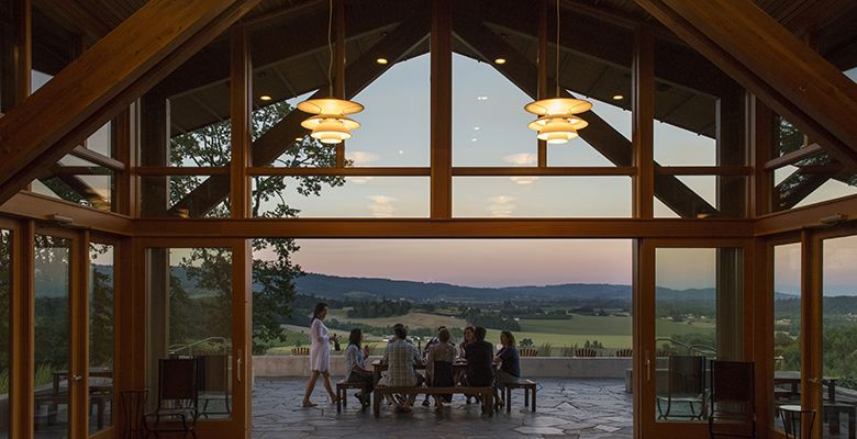 At Penner-Ash Wine Cellars, located near Newberg, guests are encouraged to sample wines on the patio, which affords fabulous views.##Penner-Ash photo by Andrea Johnson