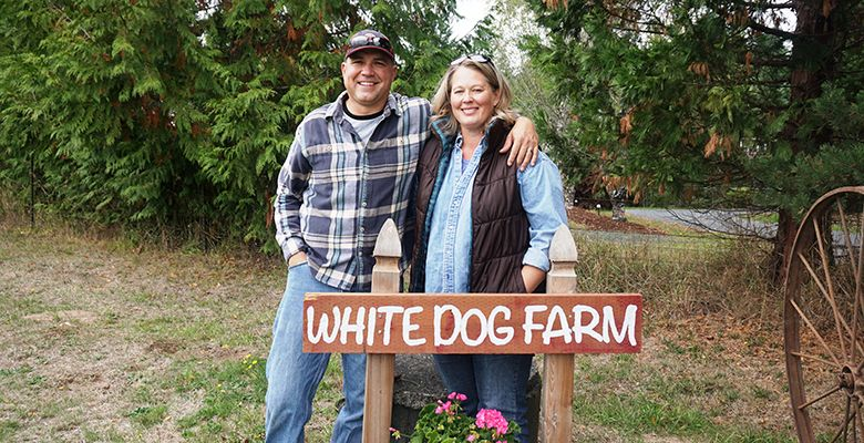 Planted in 1983 by Liane McIntyre, La Center Vineyards is changing hands once again to Kevin and Kristi Kotrous, who've renamed it White Dog Farm in honor of their rescue dog, Kooper, who fell in love with the land on his first visit.##Photos by Viki Eierdam