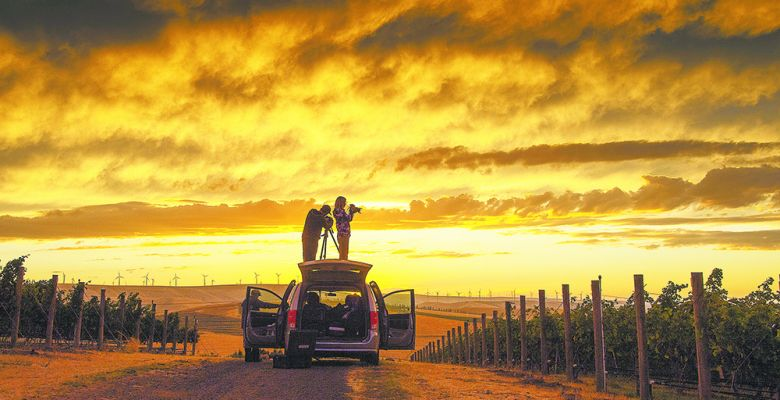 Andrea Johnson captures sunset over Seven Hills Vineyard, Walla Walla Valley. ##Photo by Robert Holmes