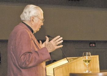 Bob Kerivan of Bridgeview Vineyards in the Illinois Valley accepts the Founders Award at the 2009 Oregon Wine Symposium Industry Awards Dinner. Kerivan would like to see the gallonage tax applied