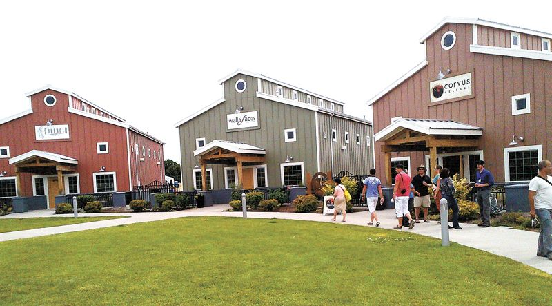 AAWE conference attendees visit winery and brewery incubators at the Walla Walla Airport.##Photo by Orley Ashenfelter