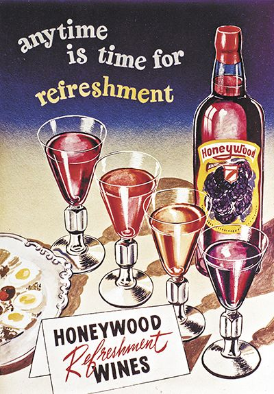A 1950s Honeywood advertisement praises the wines' refreshing qualities any time of day. ##Image provided