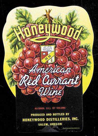 Vintage labels show Honeywood's business model of selling fruit wines like American red currant. Labeling laws prohibiting the use of French appellations on American wines were not created yet. ##Image provided