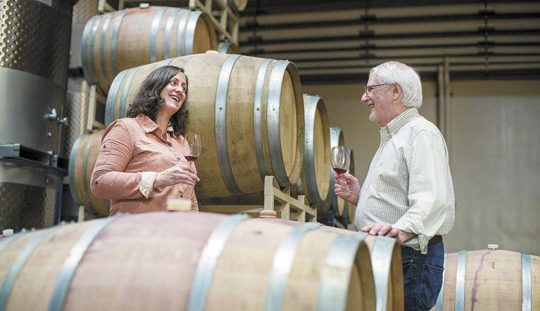 Winemaker Gina Hennen and founder David Adelsheim. ##Photo provided