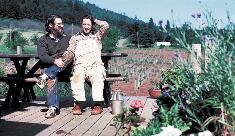 David and Ginny Adelsheim in the early '70s at the newly planted vineyard near Newberg.##Photo provided