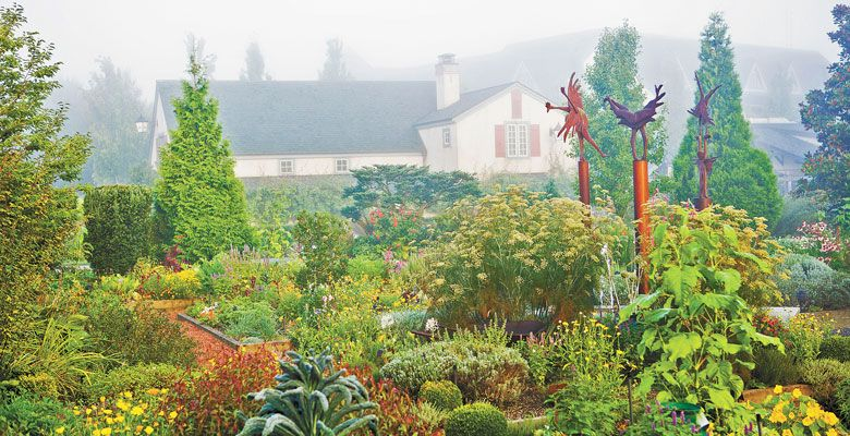 Fog covers The Herbfarm and its lush culinary garden. ##Photo by Ron Zimmerman/The Herbfarm.