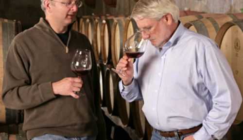 After making wine for decades, David Adelsheim (right) hired Dave Paige (left) to assume head winemaking duties in September 2001.  Paige brought with him 12 years experience in working with Pinot Noir.