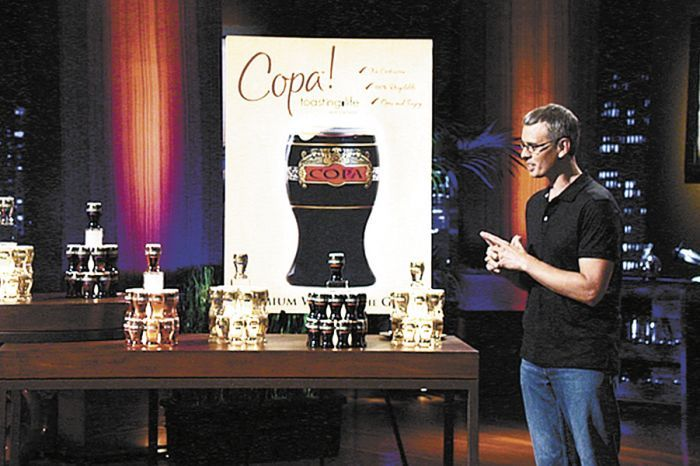 "James Martin presents his business venture, Copa Di Vino, to judges on the ABC TV show ""Shark Tank."""