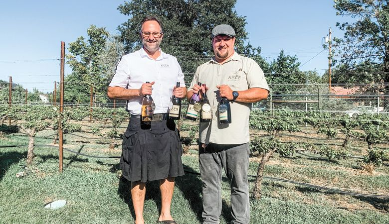 Awen Winecraft owners Sean Hopkins (left) and Tom Homewood at home in the Rogue Valley. ##Photo provided