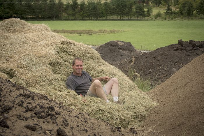 Beaux Frères co-owner and winemaker Mike Etzel takes a laid back attitude toward his Biodynamic compost pile. Photo by Andrea Johnson.
