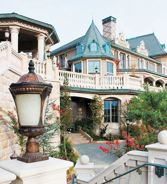 Details like turrets, arches and balconies add to the estate's architectural style.