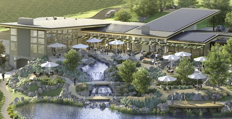 An artist rendering of Willamette Valley Vineyards' Bernau Estate in the Dundee Hills shows an exterior with many exciting details, including extravagant water features.  ##Image provided