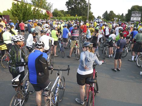 Every Sunday in August, cyclists begin and end at Eola Hills. Photo by Steven Morrisroe.