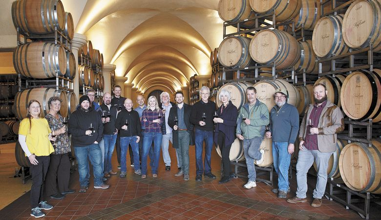 Oregon Solidarity winery prinicpals, winemakers and growers. From left: Amy Anderson, Villa Novia Vineyards; Laura Lotspeich, Pheasant Hill Vineyard; Taylor King, King Estate; Jim Ball, Five Tollers Vineyard; Brent Stone, King Estate; Ryan Johnson, King Estate; Ed King III, King Estate; Joe Ibrahim, Willamette Valley Vineyards; Christine Clair, Willamette Valley Vineyards; Michael Moore, Quail Run Vineyards; Justin King, King Estate; Leon Pyle and Cathy DeForest, Maison Tranquille; Mike Anderson, Villa Novia Vineyards; Ray Nuclo, King Estate; and Joe King, King Estate.