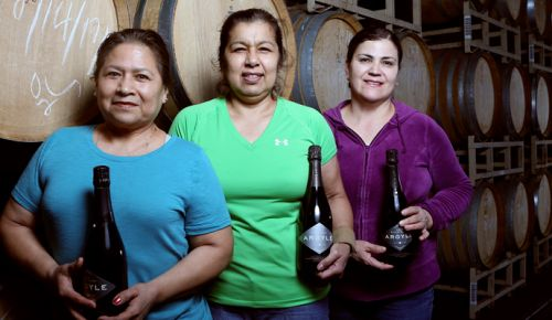 "Part of the Argyle family, Carmela Reyes (from left), Martha Acevedo, and Maria de Jesus Quiroz-Guerrero call themselves ""The Señoras"" at the Newberg winery. ##Photo by Rockne Roll"