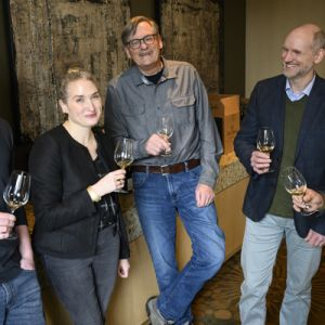 The 2019 Oregon Chardonnay Celebration panel at The Allison Inn & Spa in Newberg (from left): Ben Casteel, Bethel Heights; Kate Payne-Brown, Stoller Family Estate; Robert Brittan, Brittan Vineyards; Jason Lett, The Eyrie Vineyards; and Michael Etzel of Beaux Frères. ##Photo by Andrea Johnson