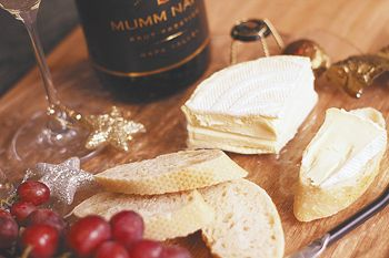 Brillat-Savarin triple crème served with American bubbly. Photo by Christine Hyatt.