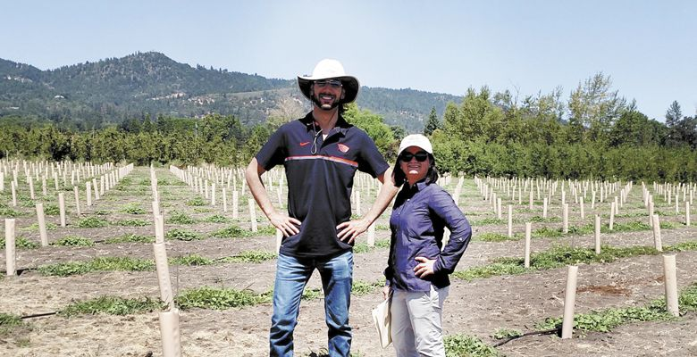 Viticulturist Dr. Alex Levin and plant pathologist Dr. Achala Nepal KC at Southern Oregon Research and Extension Center's new research vineyard in West Medford. ##Photo Provided