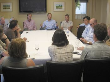 On July 6, Oregon wine industry members gathered at Sokol Blosser in Dundee to discuss immigration and other topics with U.S. Rep. David Wu.  Photo by Karl Klooster