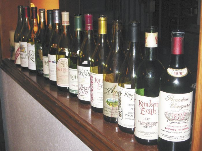 The line-up of empty bottles attests to a tasting that featured 1985 Pinot Noirs and other vinified rarities. Photo by Karl Klooster.