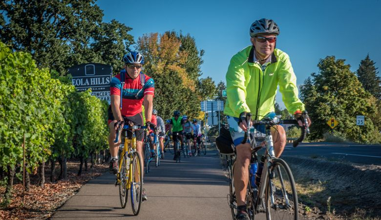 Cyclists leave