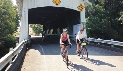 The Rochester Covered Bridge is a short detour on a ride to Oakland. ##Photo courtesy of Betty Tamm