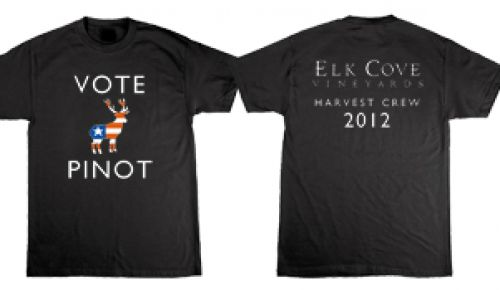 1. Front: Vote Pinot; Back: Elk Cove Vineyards Harvest Crew 2012.