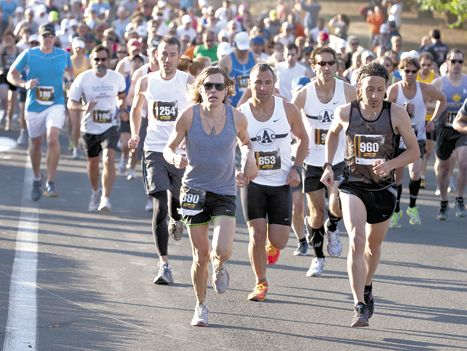 Runners pace themselves at the 2011 Fueled by Fine Wine Half-Marathon in the Dundee Hills. Photo by Frank Miller.