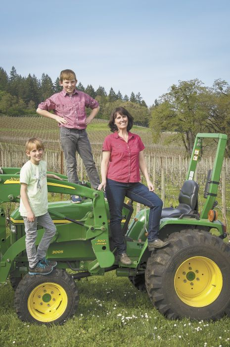 Dominio IV co-owner / winegrower Leigh Bartholomew and her sons, Finigan, 11, and Quincy, 9.