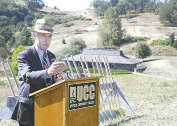 Danny Lang makes a speech at the groundbreaking for the Center, which is named after him. He donated $800,000 to SOWI. Photo provided by UCC.