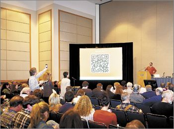 Rick Bakas of Bakas Media discusses smartphone apps and tools, like the QR code shown in the slideshow, and how they