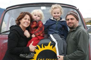 Aaron and Suzanne Wright Baumhack of Soltice Woodfire Cafe along with their children.
