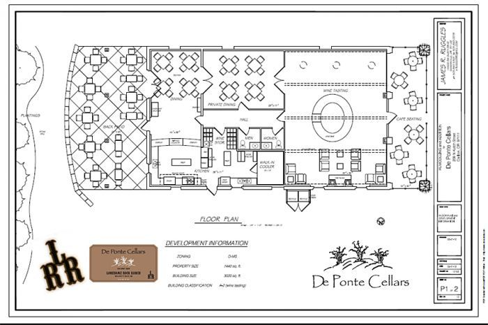 Floor plans for De Ponte's second tasting room in Cartlon reveal several proposed features, including café-style seating in the front and a patio in the back.