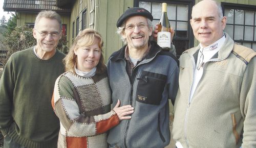Michael (right) and Linda Armellino, with friend John Ginter, enjoy a visit to Oregon with John Paul (middle) of Cameron Winery.