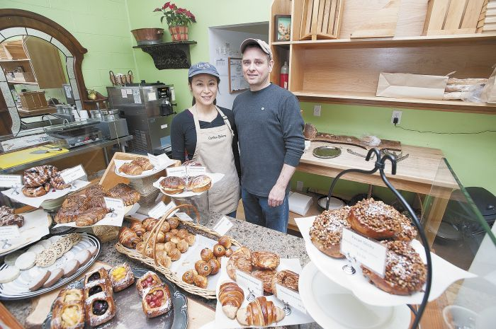 Tim and Ahmee Corrigan among the many baked offerings at the couple's Carlton Bakery.