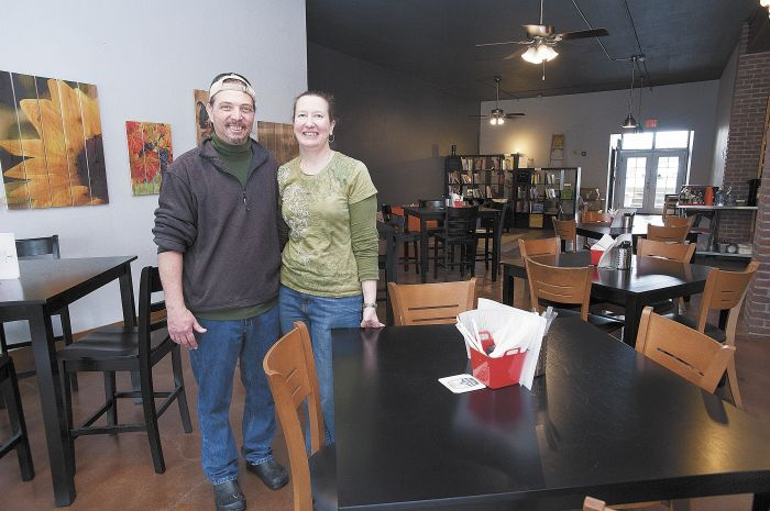 Farmers' Plate & Pantry owners Timothy Elliott and Lori Pillsbury in the dining area of the farm-fresh restaurant.