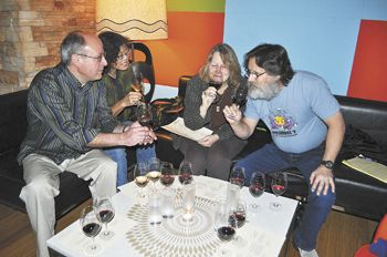 Friends from Corvallis (from left), Patrick Hadlock, Cynthia Spencer, Jerri Bartholomew and John Kaufman sample wine