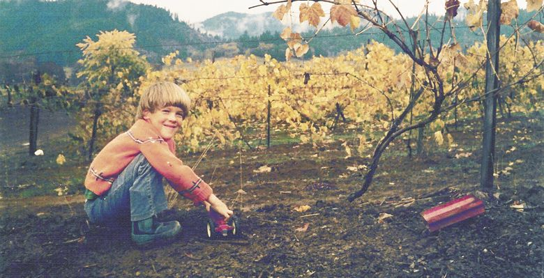 Marc Girardet as a child in the young vineyard. ##Photo provided