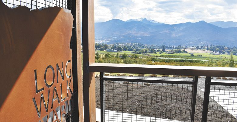 The view from Long Walk Vineyard looks out over the Rogue Valley. ##Photo by Maureen Battistella