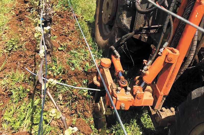 Winegrower Dai Crisp uses a German-made Braun in-row cultivator for weed management under the vines, eliminating the need for herbicides in his 120 acres of winegrapes. ##Photo Courtesy of Dai Crisp